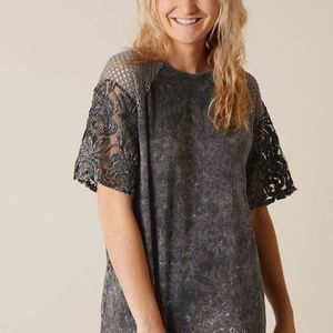 GILDED INTENT wash top lace perforated acid washed